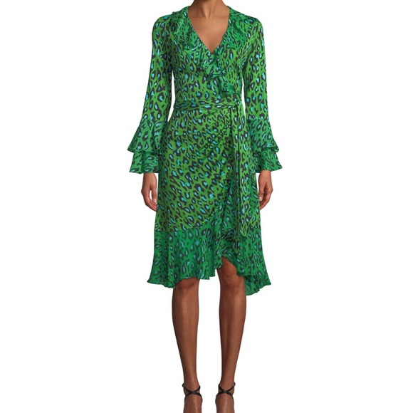8b10e56dedff Diane Von Furstenberg Dresses | Green Leopardprint Silk Ruffle Wrap ...